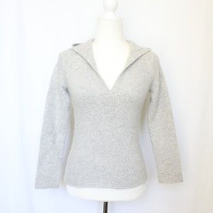 J. Crew Gray Fuzzy Pullover Over Hooded Sweater